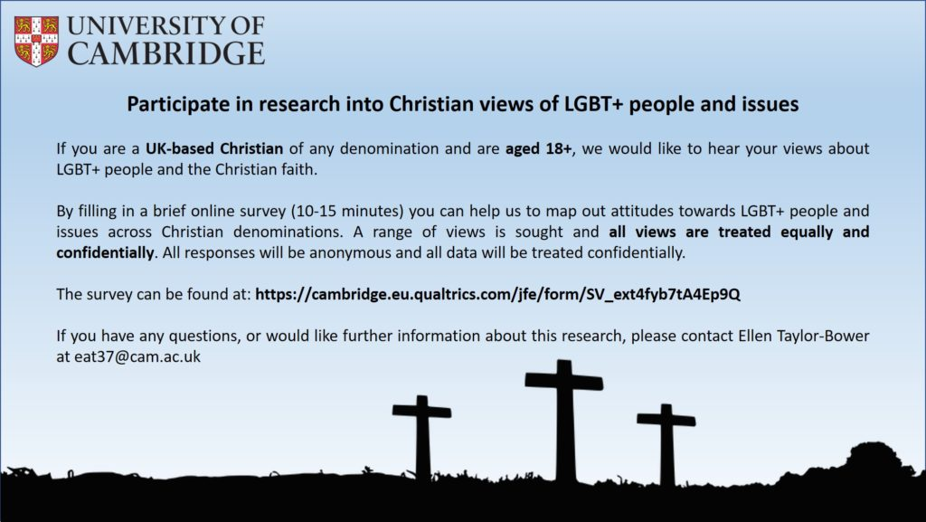 Flyer with details of the LGBT+ research