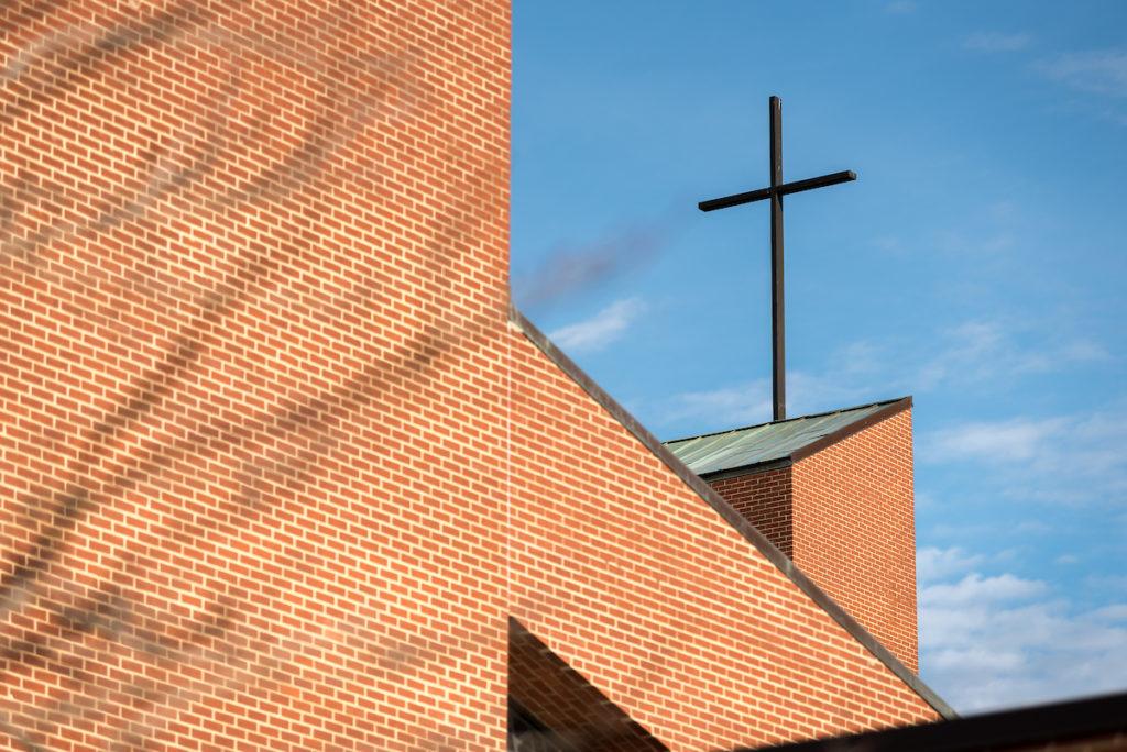 Cross on building